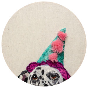 fine art print of dog embroidery