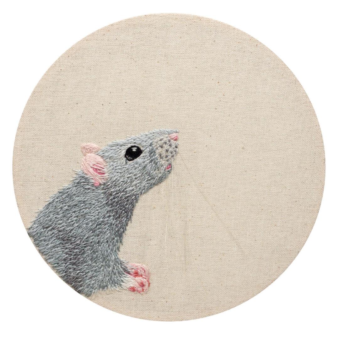 fine art print of rat embroidery