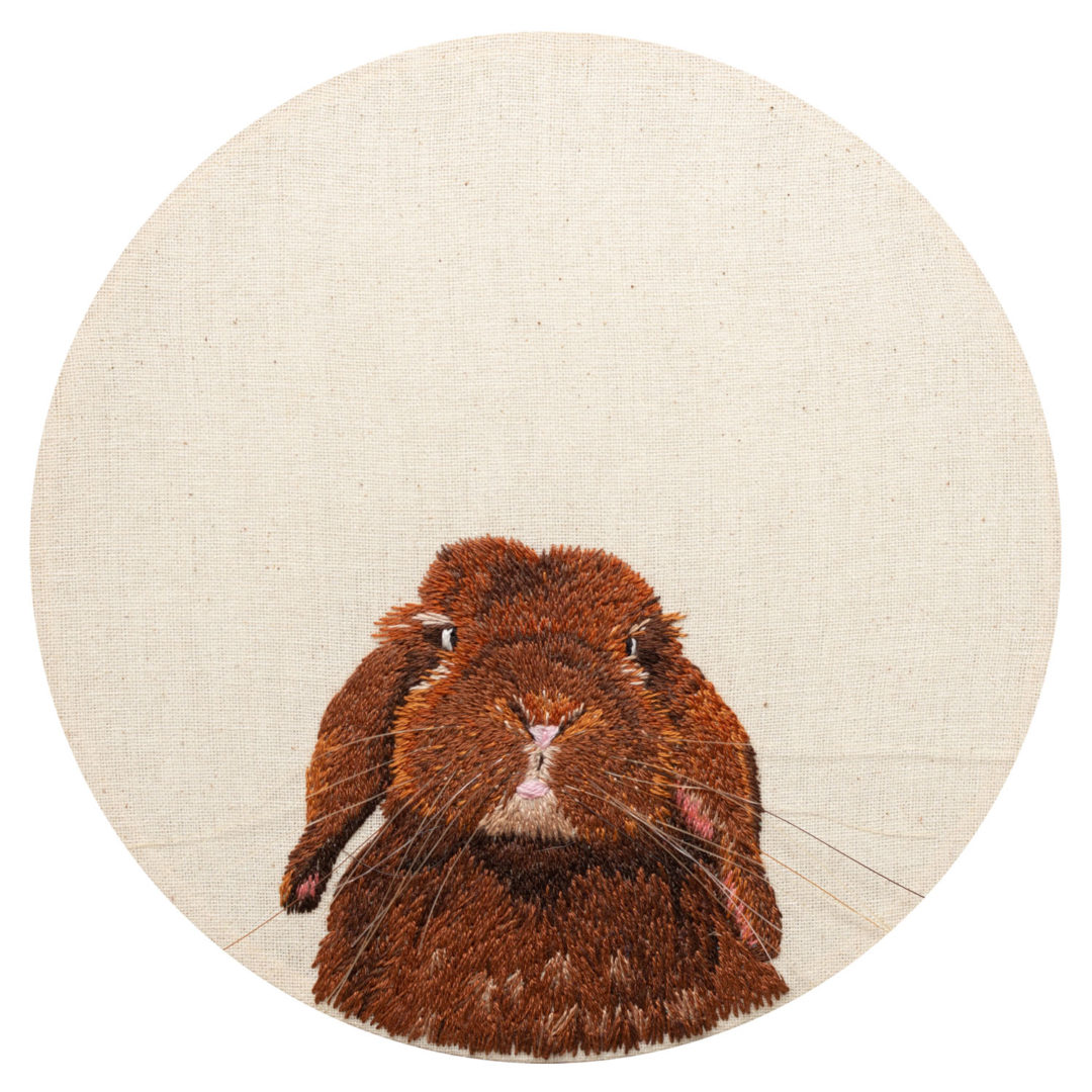 fine art print reproduction of an embroidered bunny