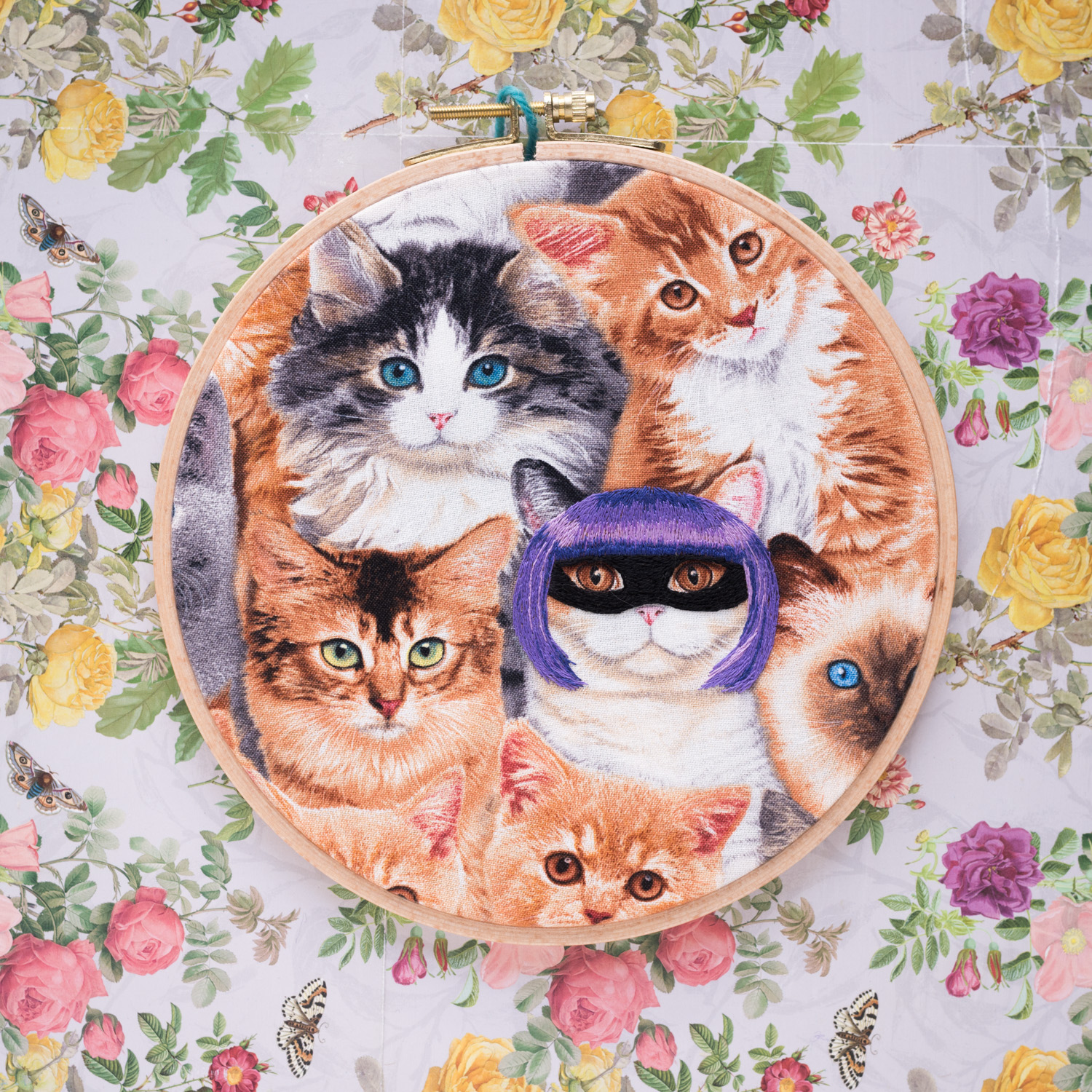 Cat embroidered as BadAss Girl